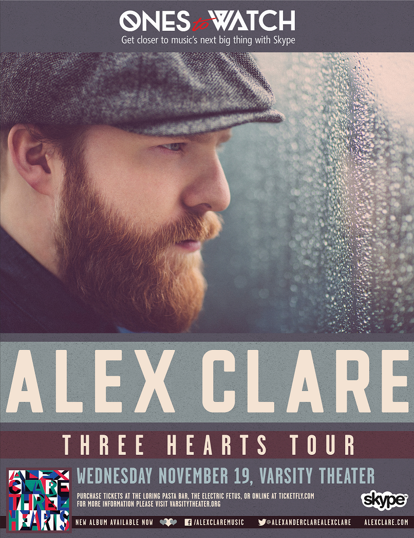 One pair of tickets to see: Alex Clare at the Varsity Theater